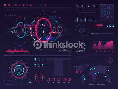 Futuristic hud digital touch screen display with visual data graphic, panels and chart vector infographic template : stock vector