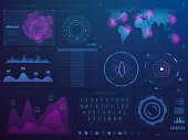 Futuristic hud interface. Science future tech vector ui with infographic elements. Vector digital interface, futuristic display with virtual hologram illustration