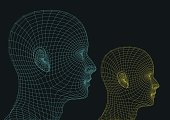 Two wireframe human heads. new technologies concept. futuristic vector illustration