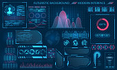 Futuristic Interface HUD Design, Infographic Elements. Tech and Science, Analysis Theme - Illustration Vector