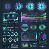Futuristic interface space motion graphic infographic game and ui ux elements hud design graph wave bar hologram vector illustration. Tech and science analysis theme.
