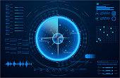 Futuristic radar. Military navigate sonar.Futuristic concept HUD, GUI style. Screen ( Dashboard, Futuristic Circle, Space Elements, Infographics) Radar Screen and elements GUI interface