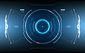 Futuristic Sci-fi vector HUD interface screen design. Virtual reality technology viewfinder display
