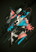 Futuristic style illustration with abstract composition, made of various splattered and geometric shapes in colors. Vector illustration.