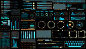 HUD Futuristic Technology Interface Elements Panel Set Vector. Abstract Virtual Cyber Object Pack For Game App UI Illustration.