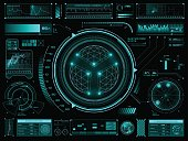 Set of futuristic user interface elements for dashboard or control panel
