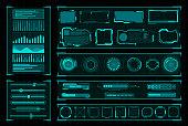 Futuristic user interface. Modern technology and design computer futurism decoration. Vector illustration on black background
