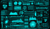 Futuristic user interface set. HUD. Future infographic elements. Technology and science theme. Analysis system. Scanning graphs and waves. Vector illustration.
