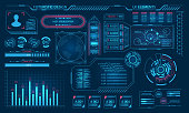 Futuristic Virtual Graphic User Interface, HUD Elements - Illustration Vector