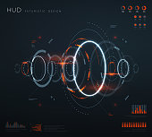 Futuristic virtual hud interface. Technology digital screen with control panels, chart, diagrams. Conceptual future vector infographic. Virtual futuristic ui, dashboard screen digital illustration