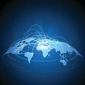 Futuristic world map traffic design in vector