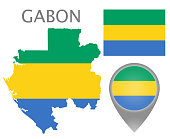 Colorful flag, map pointer and map of Gabon in the colors of the Gabonese flag. High detail. Vector illustration