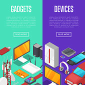 Gadgets and computer devices isometric posters. Global social media and communication concept. Smart watch, laptop, tablet PC, usb drive, gamepad, mp3 player, wifi router vector illustration.