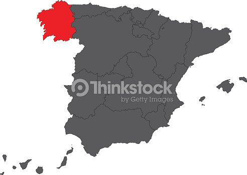 Galicia Red Map On Gray Spain Map Vector stock vector - Thinkstock on