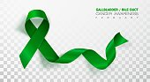 Gallbladder and Bile Duct Cancer Awareness Month. Realistic Kelly Green ribbon symbol. Vector Illustration. Medical Design.