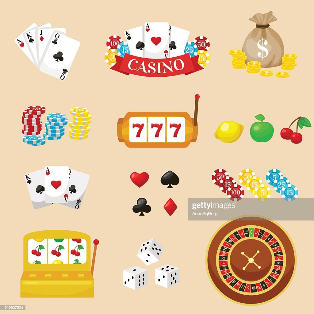 Gambling pictograms set. Deck of cards and casino, playing poker : Vector Art