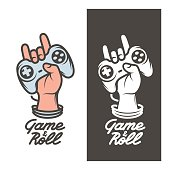 Game and roll t-shirt design. Oldschool videogames related poster. Hand with joystick in rock on gesture. Vector vintage illustration.