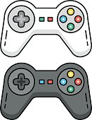 Game controllers set. Black and white gamepads. Outline concept. Line game controllers, outline gamepad icons isolated on white background. Flat design graphic elements. Vector illustration