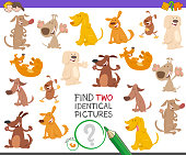 Cartoon Illustration of Finding Two Identical Pictures Educational Game for Children with Funny Dog Characters