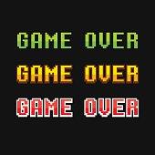 Set of old school pixel Game Over messages. Vector illustration.