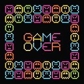 Game Over message surrounded by pixel characters.