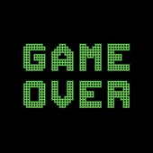 Green 'Game Over' message depicted in a retro arcade style