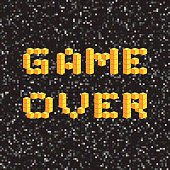Game over screen, old school gaming poster, failure concept