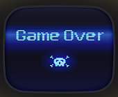 Game over, tv game. Skull and Crossbones made of pixel.