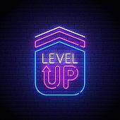 Game popup. Level up neon sign, bright signboard, light banner. Game logo neon, emblem. Vector illustration.