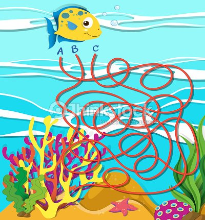 game template with fish and coral reef vector art thinkstock