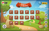 Illustration of a funny graphic game user interface background, in cartoon style with spring nature landscape, basic buttons and functions, status bar for wide screen tablet