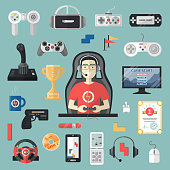 Gamepad vector gamer playing gameplay and player character gaming videogame with joystick or game-console illustration set of game gadgets isolated on background.