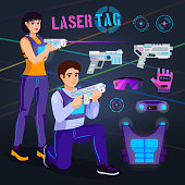 Gamer in laser tag vector player character gaming in lasertag with gun shooting in aim illustration set of people playing in gameplay with laser weapon isolated on background.