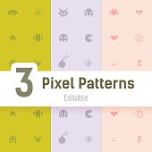 Gamer Pixel Pattern, Flat Vector Background Set for Your Projects