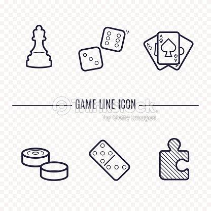 Iconos Lineales Juegos Ajedrez Dados Cartas Damas Y Otros Juegos De ...