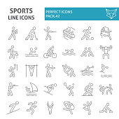 Sports games thin line icon set, sport symbols collection, vector sketches, symbol illustrations, sportsman signs linear pictograms package isolated on white background.