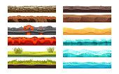 Gaming environment: landscape, surroundings. Ground, soil, water surface, for UI games. 2D gaming platform. Soil, sandy ground, lava, lawn surface, water, snow. Vector illustration.