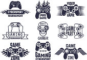 Gaming symbol set. Video games and cyber sport labels. Gamer emblem symbol, sport cyber, video gaming, vector illustration