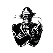 art, black, bone, cartoon, character, clipart, cranium, death, drawing, evil, fedora, gangster, graphic, halloween, hat, horror, illustration, isolated, mafia, mafioso, man, retro, skeleton, skull, ve