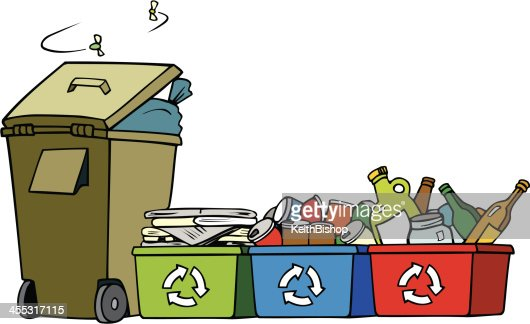 Garbage And Recycle Bins With Flies Cartoon Vector Art ...