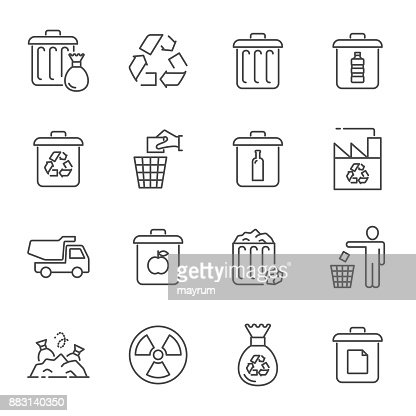 Garbage and recycling icons : stock vector