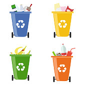 Garbage bins. Containers for different garbage. Separate collection of garbage. Flat design, vector illustration, vector.