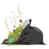 Garbage bag vector cartoon icon.