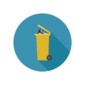 Dumpster with garbage in flat style. Vector icon of yellow garbage can with long shadow.