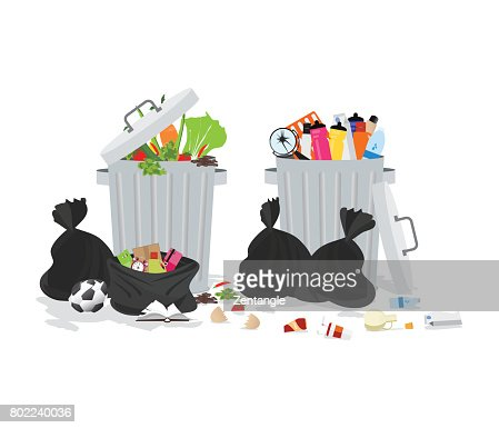 Garbage can full of overflowing trash. : stock vector