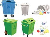Rubbish and garbage cans and basket