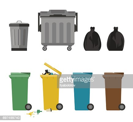 Garbage cans flat icons : stock vector
