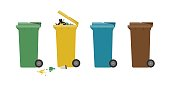 Garbage colorful cans for separate waste, flat illustration.