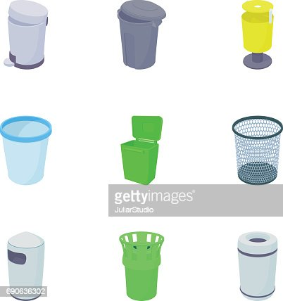 Garbage icons set, cartoon style : stock vector