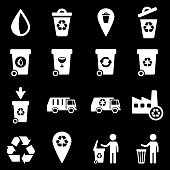 Garbage simply vector icon set. See also: